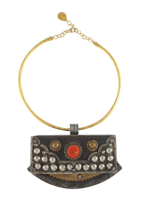 One of a Kind Antique Coral and Brass Purse Gold Bar Necklace