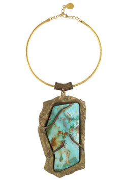 One of a Kind Natural Turquoise Pendant Necklace