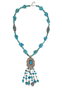 Turquoise Ethnic Pendant Fringe Necklace