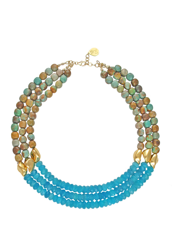 Natural Turquoise Amazonite Gold Accent Necklace