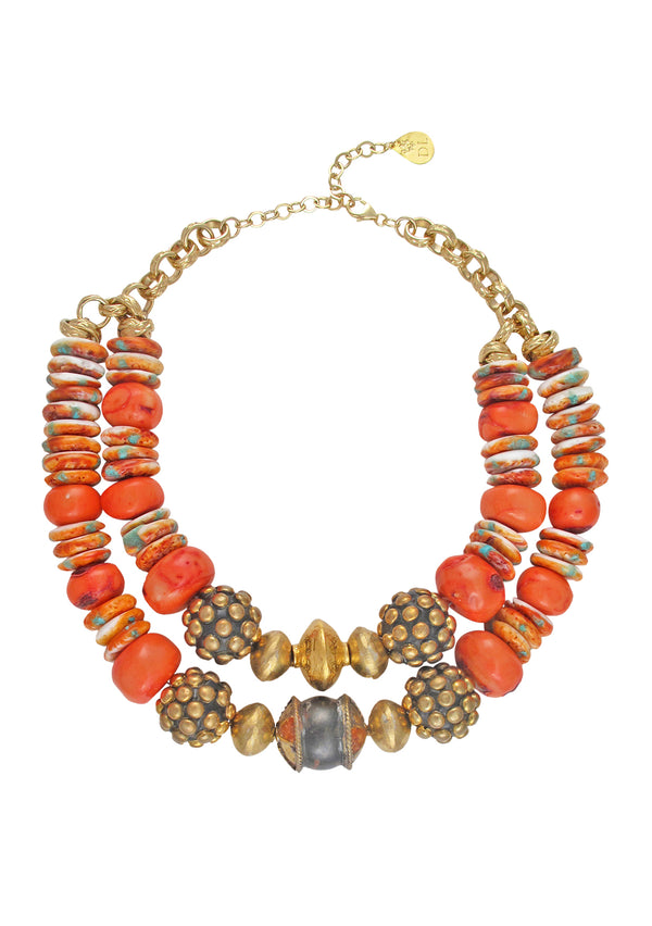 Orange Spiny Oyster Coral Ethnic Necklace