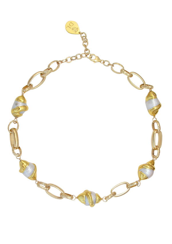 Freshwater Pearl Gold Bezel Necklace