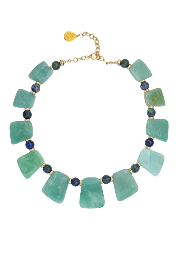 Aqua Jade Chrysocolla Necklace