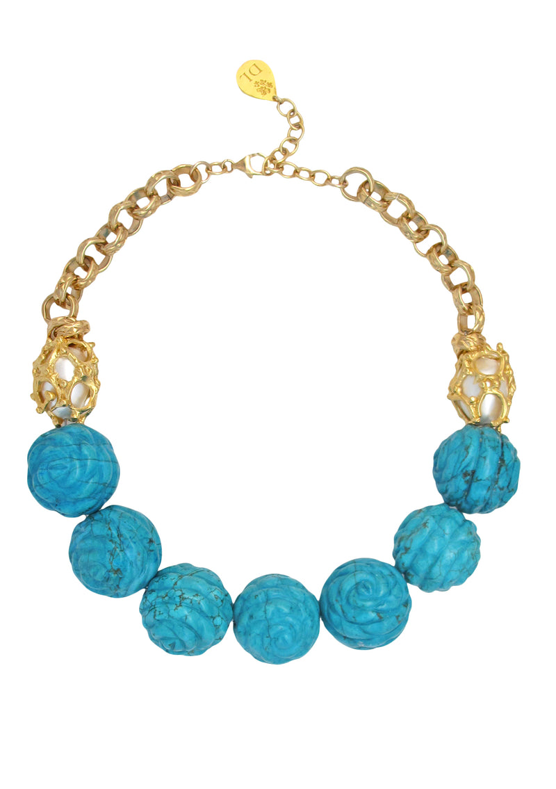 Carved Turquoise Caged Pearl Necklace