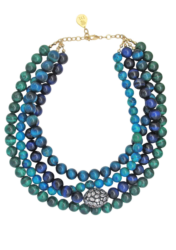 Azurite Malachite Tiger's Eye Crystal Accent Necklace