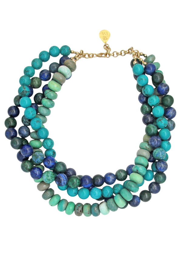 Chrysoprase Turquoise Multi Strand Necklace
