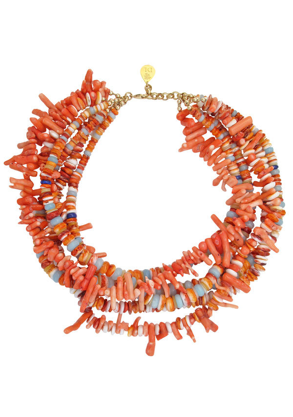 Orange Spiny Oyster Coral Multi Strand Necklace