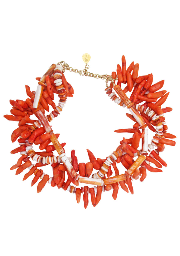 Coral Multi Strand Necklace