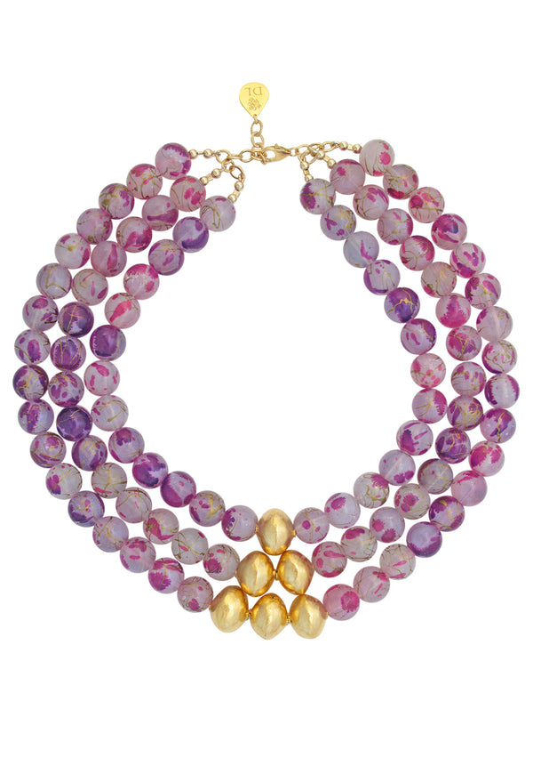 Pink Stroke Gold Accent Multi Strand Necklace