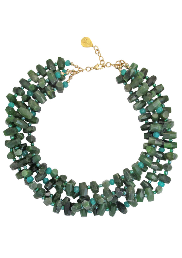 Nephrite Jade Amazonite Multi Strand Necklace