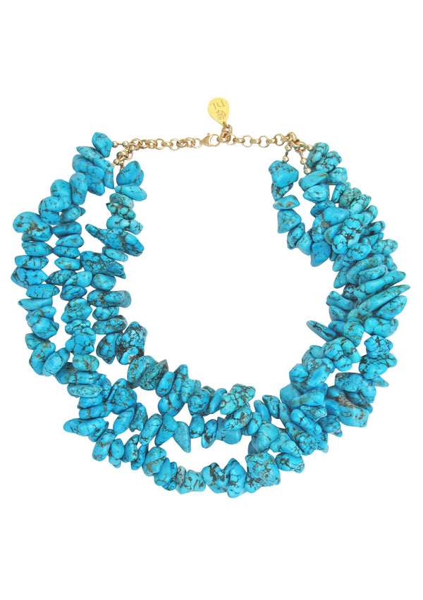 Turquoise Nugget Multi-Strand Necklace