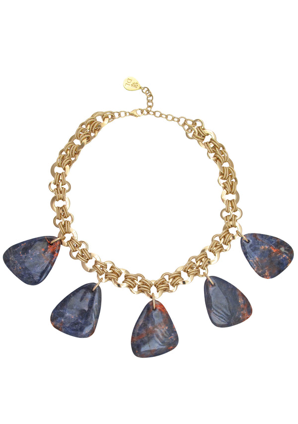 Orange Sodalite Multi Pendant Gold Necklace