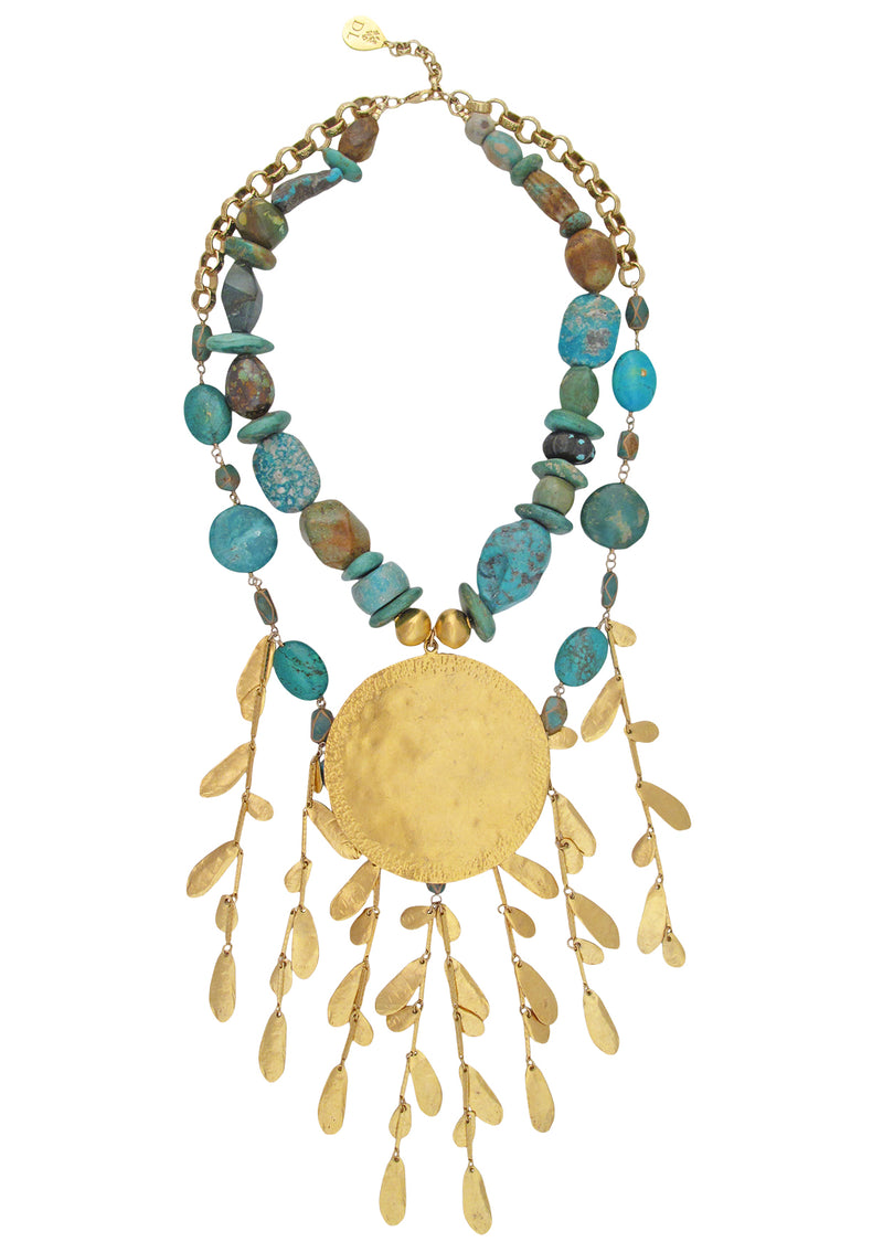 One of a Kind Natural Turquoise Gold Medallion Bib Necklace