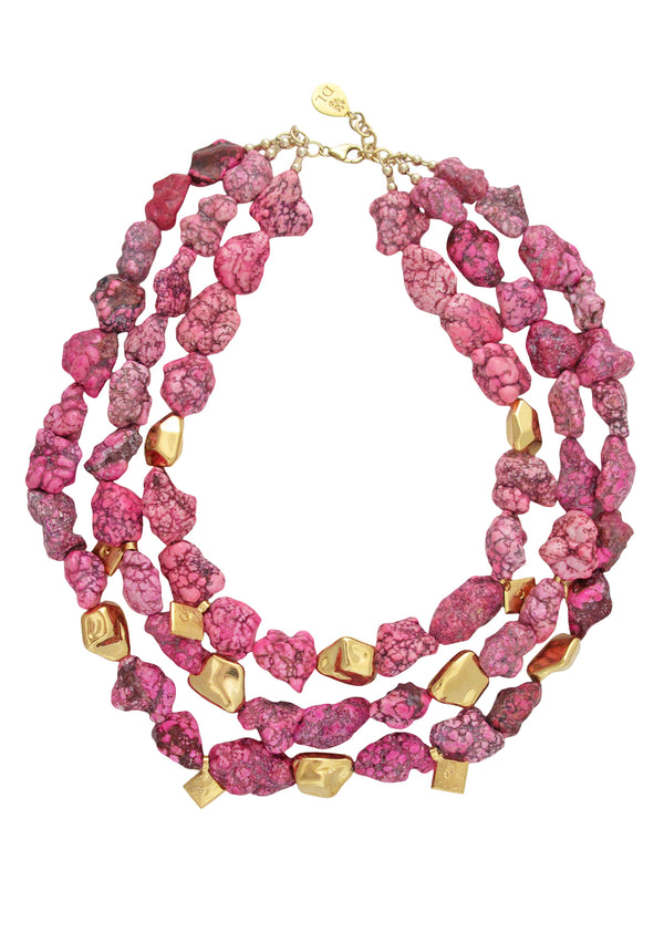 Pink Turquoise Gold Accent Multi Strand Necklace