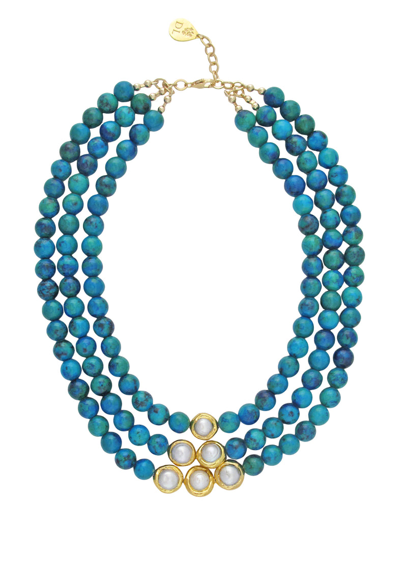 Azurite Freshwater Pearl and Gold Accent Necklace
