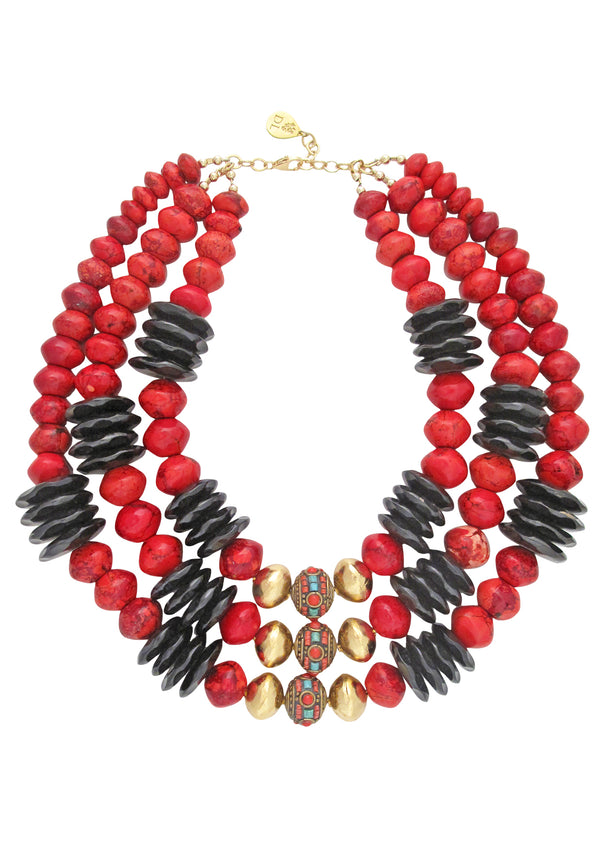 Coral Horn Ethnic Multi Strand Necklace