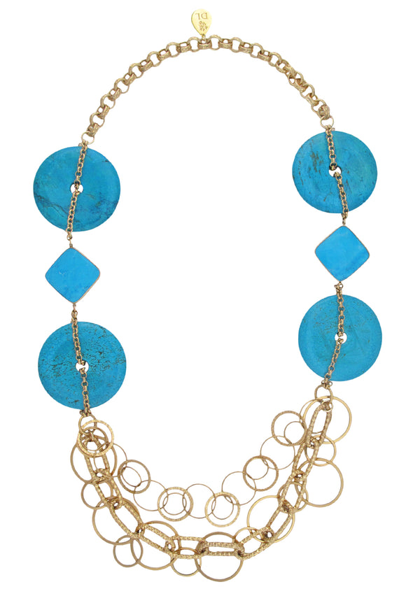 Turquoise Medallion Multi Chain Necklace