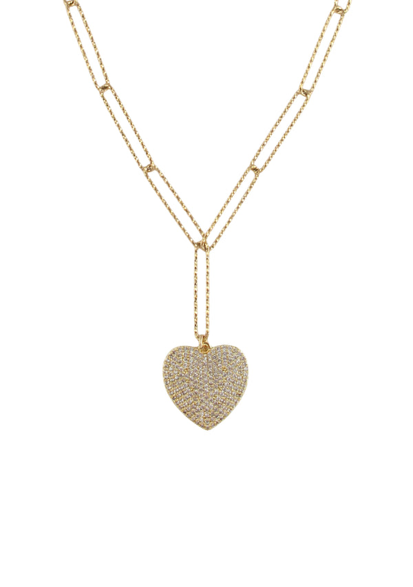 Crystal Gold Heart Pendant Necklace