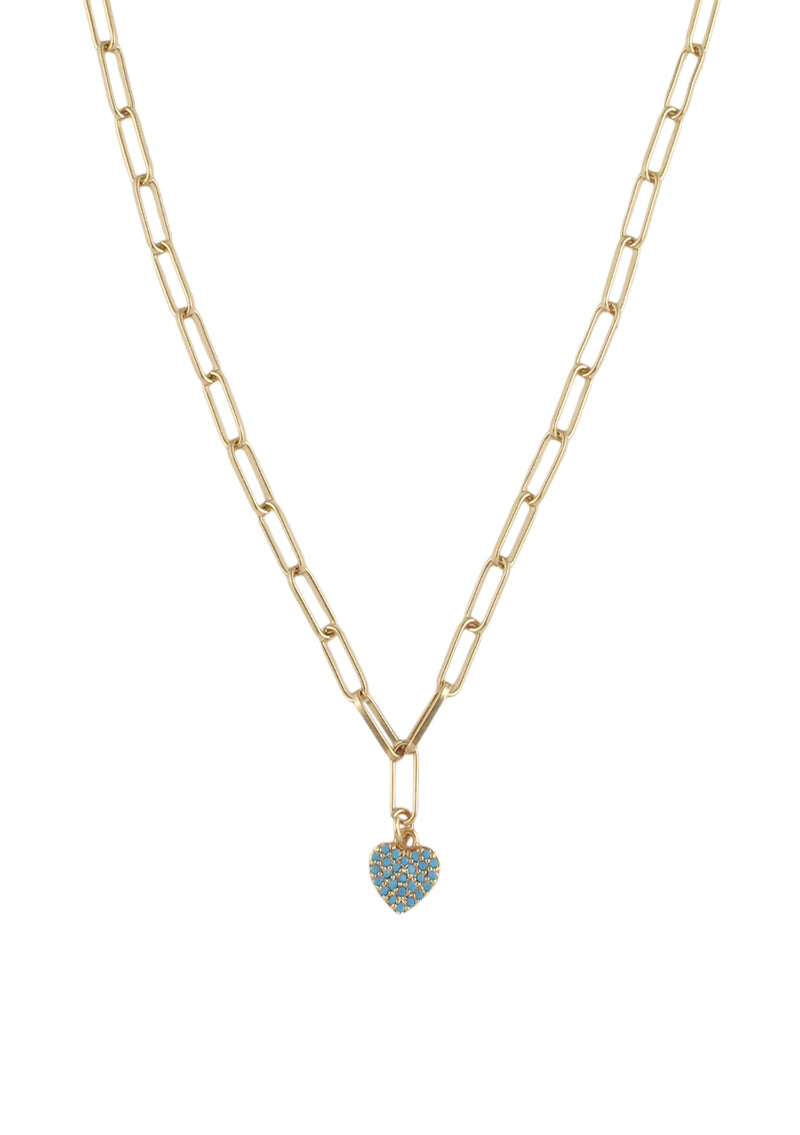 Turquoise and Gold Heart Pendant Necklace