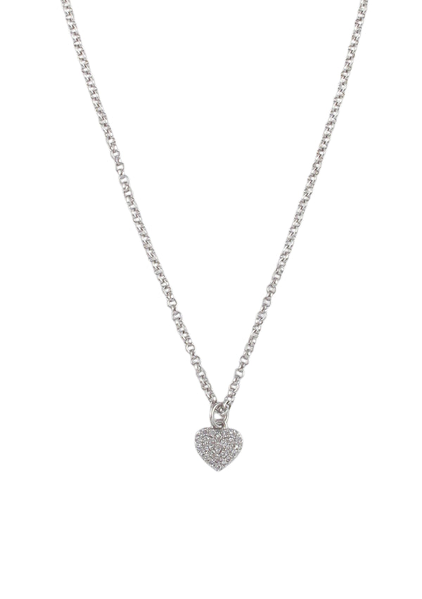 Crystal Rhodium Heart Pendant Necklace