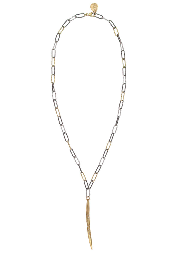Diamond Illusion Gold Spike Tri-Tone Italian Chain Necklace