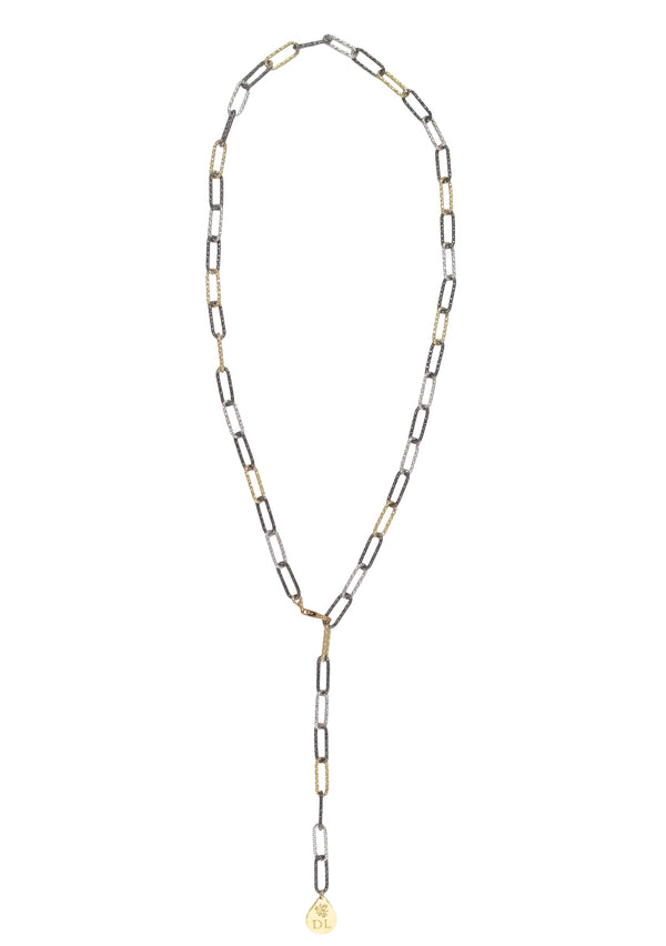 Gold, Dark Rhodium, Silver Tri-Tone Italian Chain Necklace