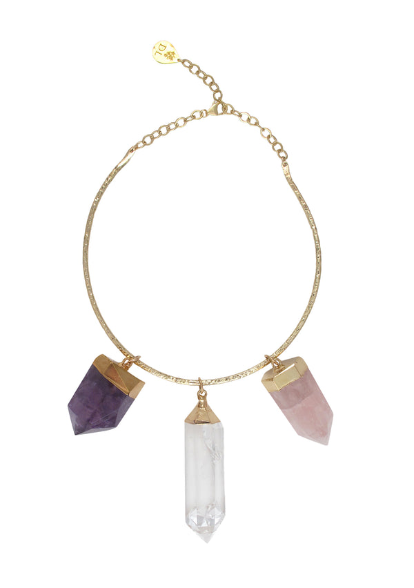 One of a Kind Amethyst, Clear and Rose Quartz in Gold Foil Bar Necklace