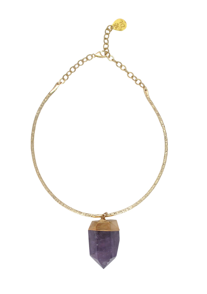 Amethyst Spike in Gold Foil Bar Necklace