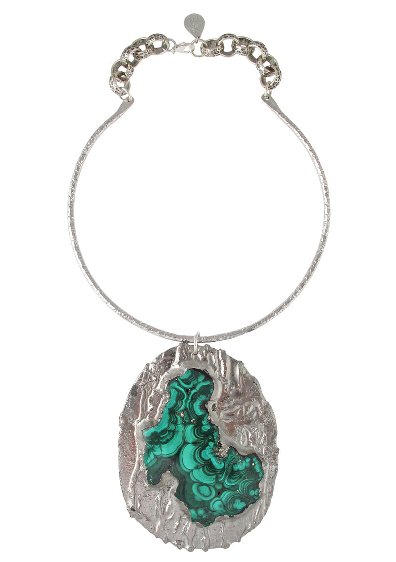 One of a Kind Malachite Pendant Rhodium Necklace