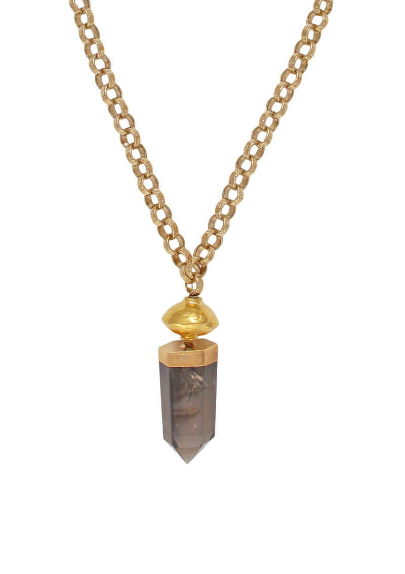 Smoky Quartz in Gold Foil Pendant Necklace