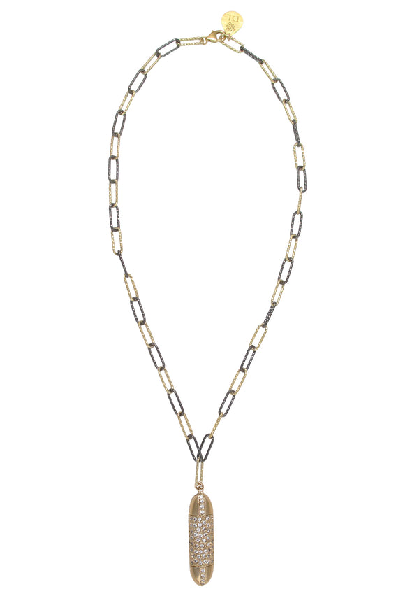Diamond Illusion Gold Bullet Pendant Italian Chain Necklace