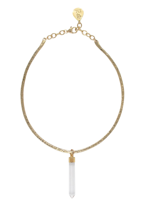 Clear Crystal in Gold Foil Pendant Gold Bar Necklace