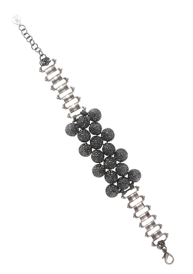 Hematite Crystal Spike Oxidized Silver Choker Necklace