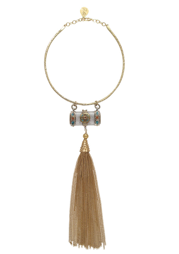 Ethnic Accent Gold Tassel Gold Bar Necklace
