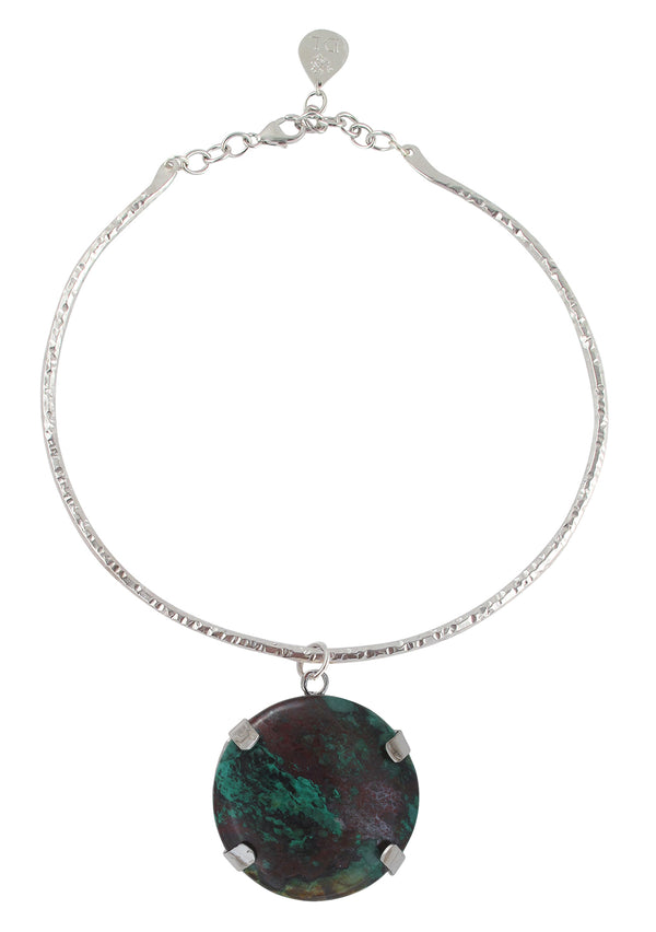 Statement Malachite Pendant Necklace with Rhodium