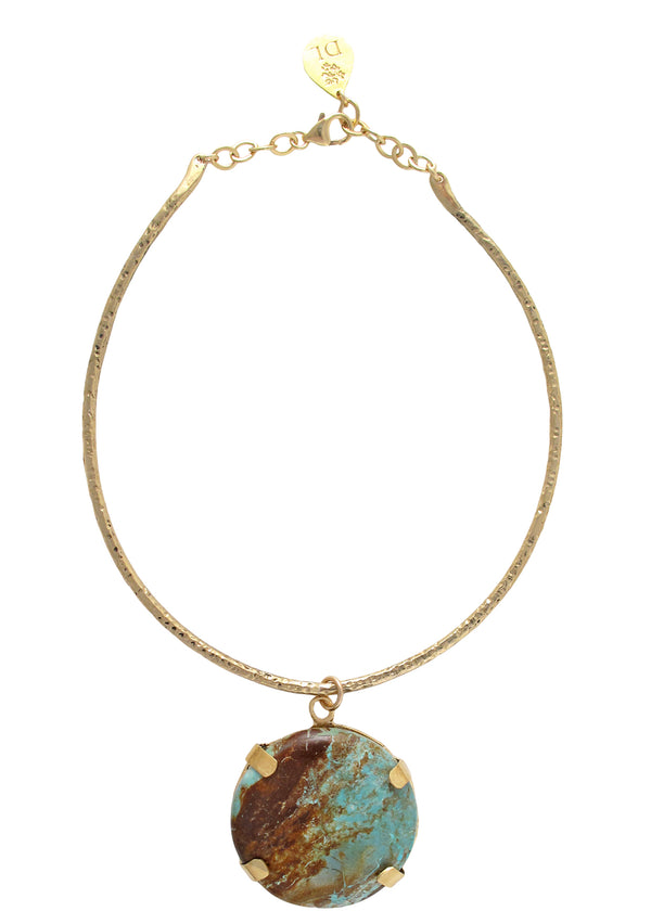 Statement Turquoise Pendant Necklace with 18k Gold