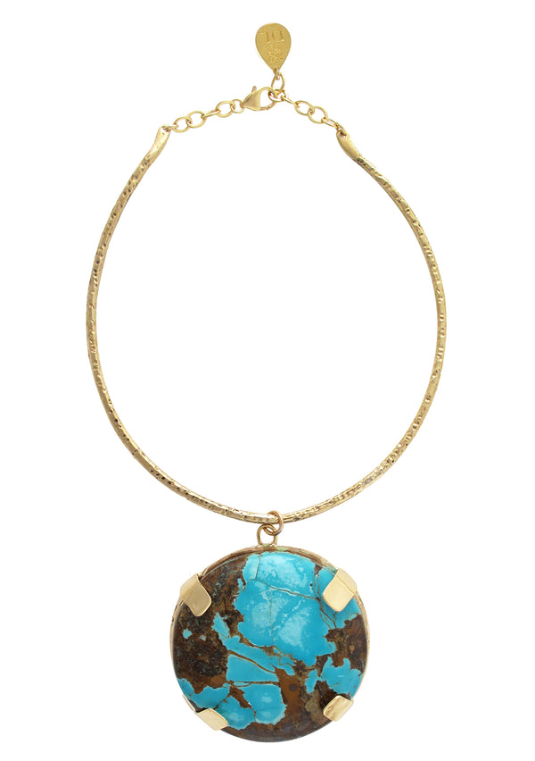 Large Statement Turquoise Pendant Necklace with 18k Gold