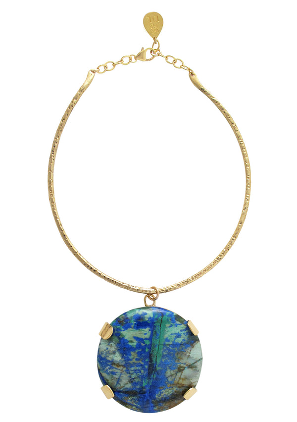 Large Statement Azurite Pendant Necklace with 18k Gold