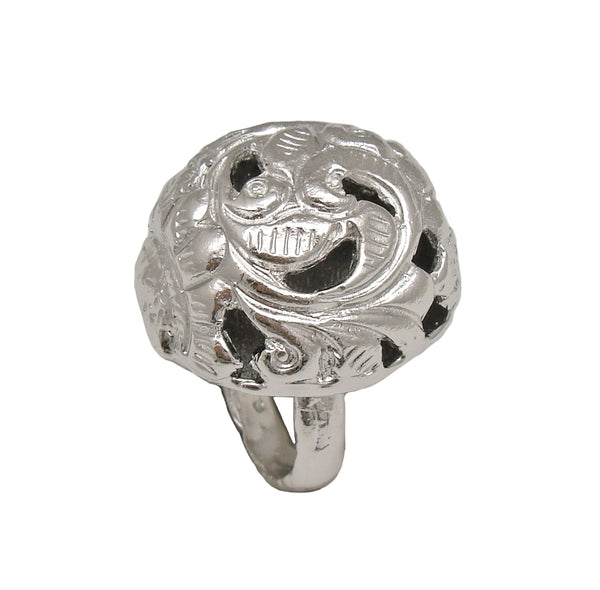 Carved Rhodium Dome Ring