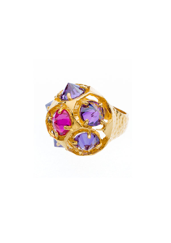 Amethyst and Fuchsia CZ Gold Cocktail Ring