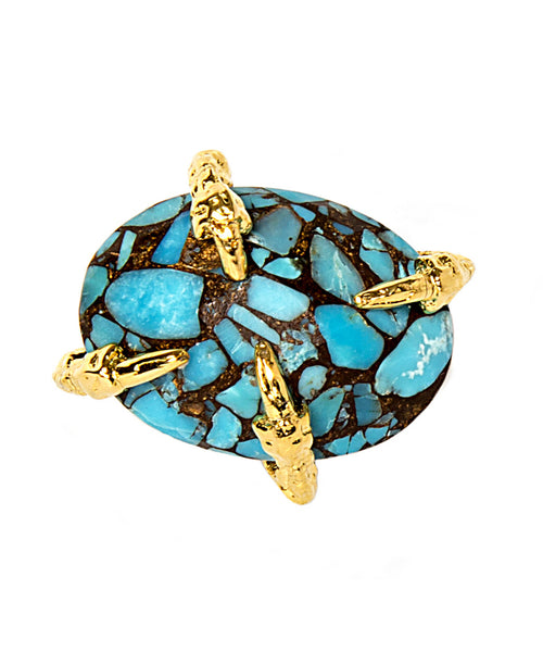 Copper Infused Turquoise Mosaic Gold Claw Ring