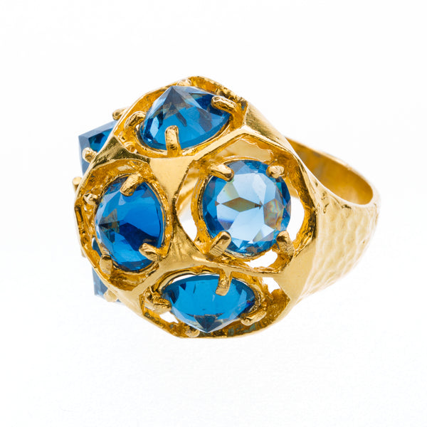 Blue CZ Gold Cocktail Ring