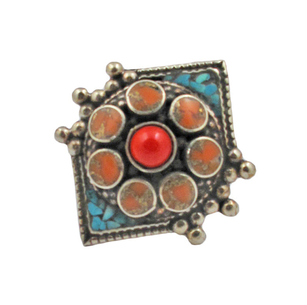 Coral Turquoise Ethnic Ring