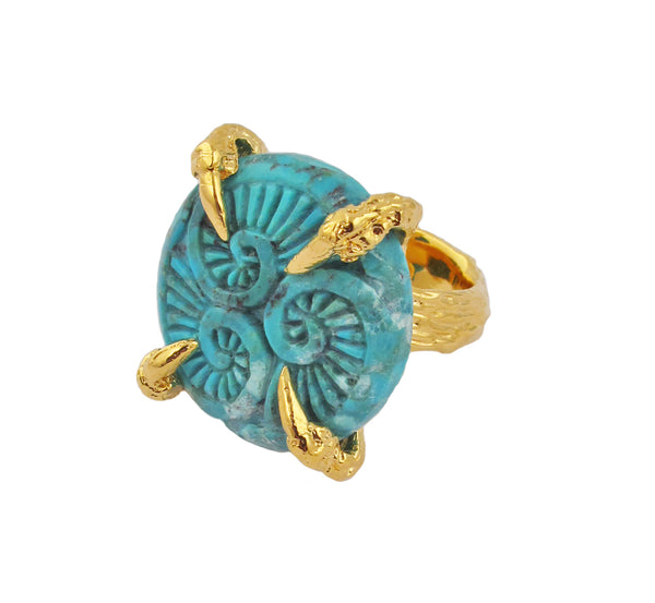 Carved Turquoise Gold Claw Ring