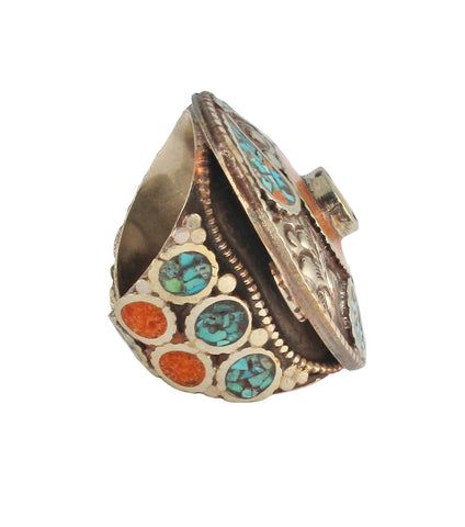 Turquoise Coral Yellow Jade Ethnic Ring