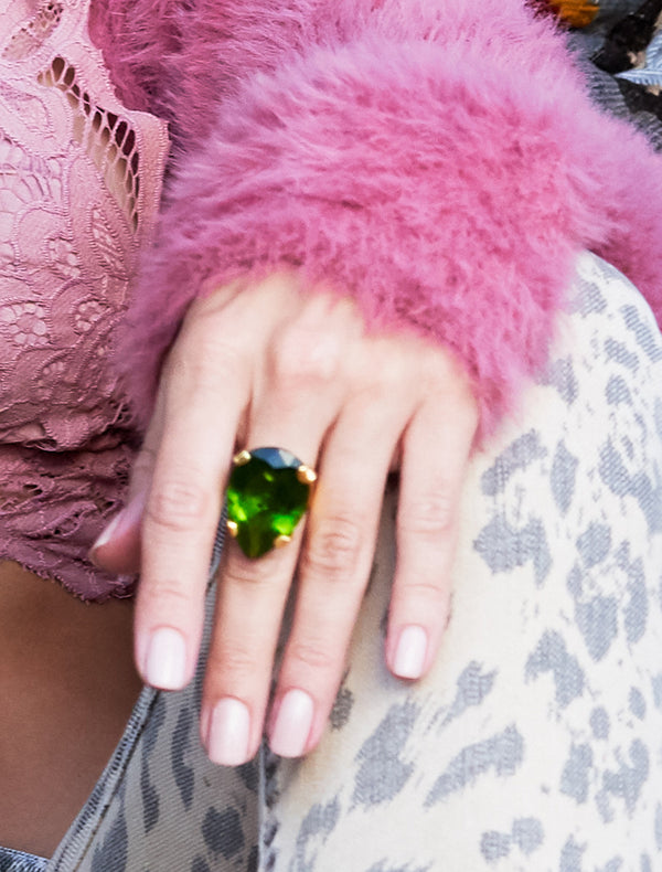 Peacock Green Cocktail Ring