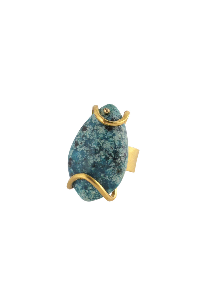 Chrysocolla Gold Ring