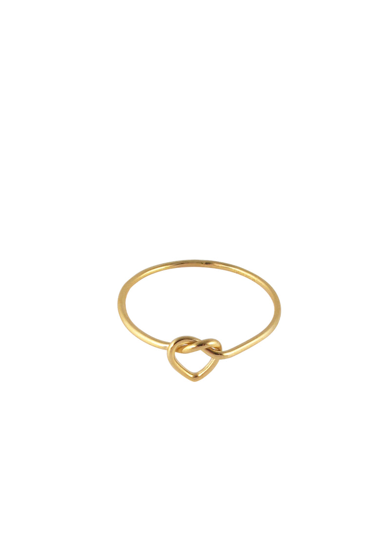 Twisted Heart Gold Ring