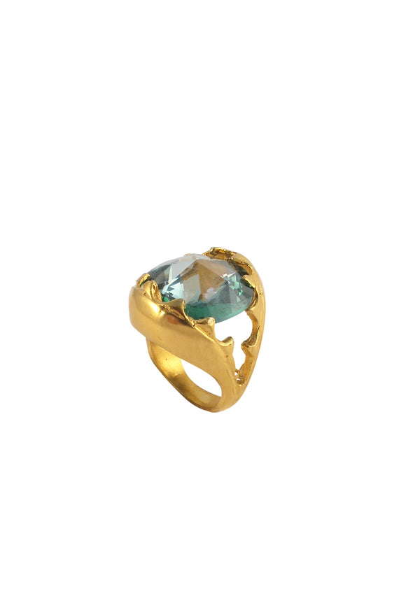 Mint Lucky Star CZ Gold Jaw Ring