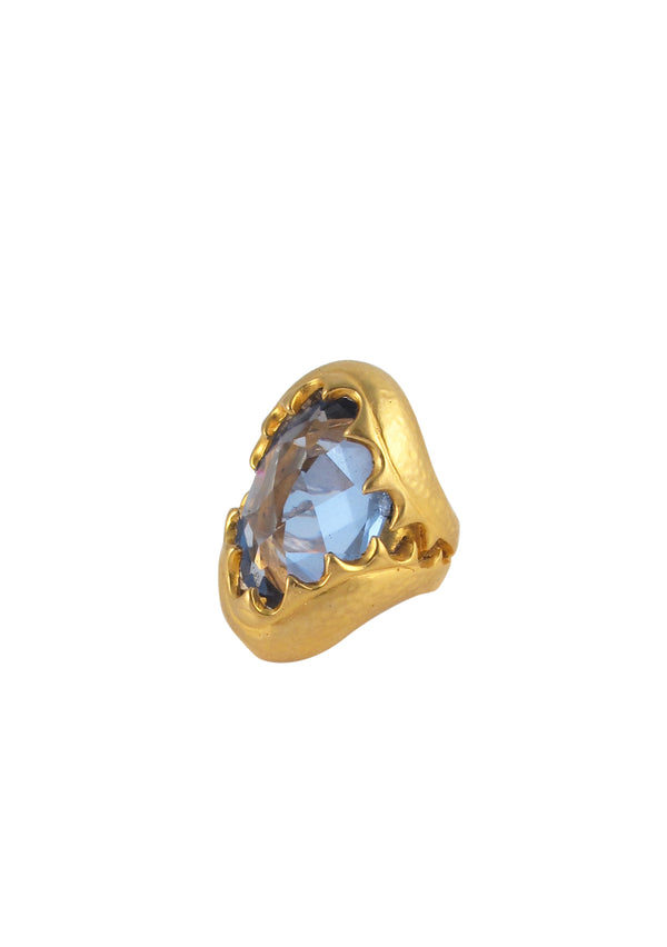Blue CZ Gold Jaw Cocktail Ring